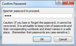 Prompt to confirm password